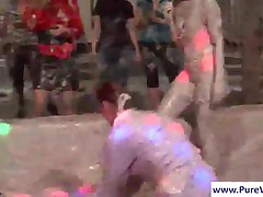 Six Horny Young Girls Mud Wrestling In Arena