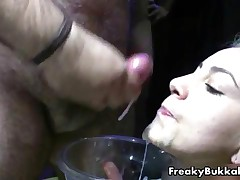 Nasty Blonde Slut Gets Her Face Covered With Cum In This Bukkake Festival By FreakyBukkake