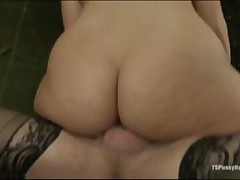 Tied Up Brunette Babe Gets Fucked Hard By A Shemale