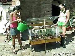 Lesbian Love In The Garden