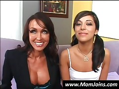 Brunette Teen And Mommy Showing Pussies