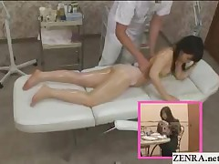 A Cute Topless Japanese Teen Wearing A Pair Of Sheer Panties Has A Very Hands On Oil Massage