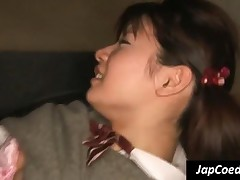 Sensational Japanese Coed Gets Hairy Twat Fingered And Licked