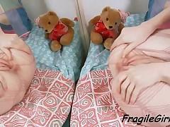Sensual Blonde Teen Girl In Fishnet Bodysuit Rubs Pussy