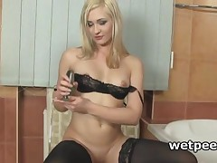 Stockinged Blondie Dildo Fucking Cunt For Piss