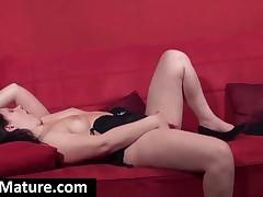 Orgiastic Brunette Milf Fuck Pink Dildo Hard