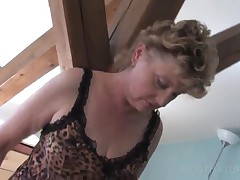 Mature Blondie In Sexy Outfit Playing With Dildo