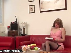 Horny Mature Wife In Black Stocknigs Loves Playing With Her Own Wet Pussy By MatureX