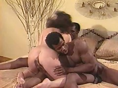 Oldschool interracial three some