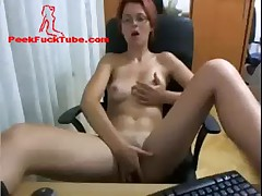Cute redhaired with glasses masturbating on webcam