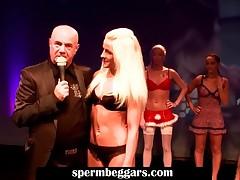 Blonde Slut In Sexy Lingerie Sucking A Fat Pecker
