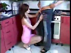 Erotic Brunette Gives Hot Kitchen Footjob