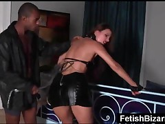 Tied Up Slave In Leather Lingerie Gets Ass Spanked By A Black Dude