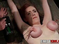 Stunning Brunette Babe In Extreme Tied Tits Bondage Gets Her Shaved Plumped Pussy Fingered And Toyed