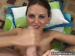 Naughty Brunette Teen Girl Stroking Dick To Make It Cum All Over Her By BangMyHands