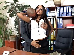 Secretary With Glasses Fucked In Stockings And High Heels At The Office