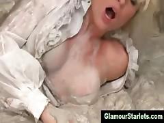 Watch classy clothed slut get a cumshot