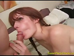 Drunk Chick Sucks And Rides A Cock Like Crazy At A Party, Ending With Cum On Face!