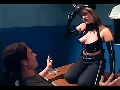 Sexy Female Cop In Uniform And Latex Gloves Deepthroating And Fucking