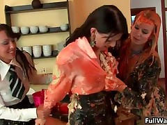 Three Hot Euro Babes Covered In Sticky Messy Food Getting Horny For Sex By FullWam