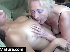 Chesty Blonde Cougar Gets Tits And Pussy Licked By A Granny