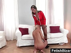 Blonde Slave Licking A Lesbian Mistresss Slick Pussy