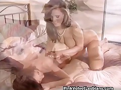 Super Hot And Horny Lesbian Couple Kissing Boobs, Licking And Fingering Pussy In Bed By PinkVelvetLe