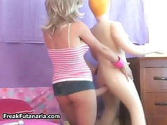 Cute Blonde Girl Fucking Her Doll Doggystyle With Her Huge Cock By FreakFutanaria