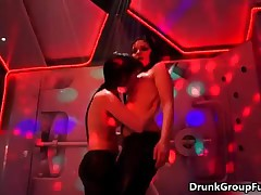 Two Wet Girls Getting Horny On Stage And Showing Their Tits By DrunkGroupFuck