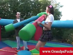 Mia Lina - Old Pervert Takes Teen To A Jumping Castle On A Play Date