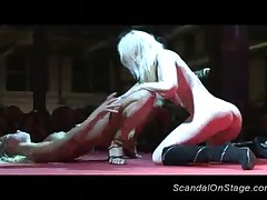 Scandal On Stage With Lesbian Strippers Licking Pussy