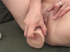Horny Mommy In Glasses Fucks Cunt With Big Dildo
