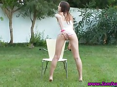 Ivana - Superb Teen Girl Ivana Fingers Wet Pussy Outdoors