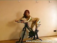 Crazy Spandex Girl Streching And Touching Her Pussy