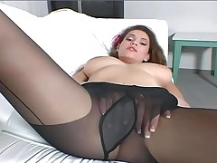 Big Boobed Brunette MILF Teases You With Her Sheer Pantyhose