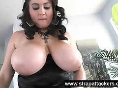 Chubby Girl With Extra Huge Boobs Using Dildo To Punish Her Slave With Passion