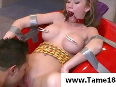 Madison Scott - Tied Teen Slave Gets Big Tits Tortured With Pegs