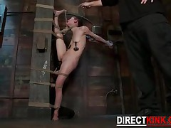 White And Naked Flawless Brunette Babe Gets A Painful Rope Bondage Scene