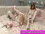 Wam girls having a mud wrestling fight