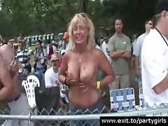 Public Nudity with next door party Milfs