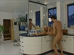 Blonde gets screwed hard in the bathroom