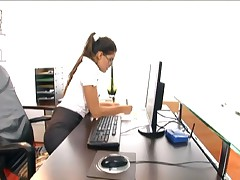 Defrancesca Gallardo - Petite Nerdy Secretary Fucked In Stockings And Garter Belt At The Office