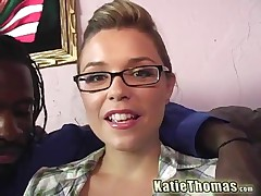 Katie Thomas Vs Nathan Threat - Babe With Glasses Goes Black