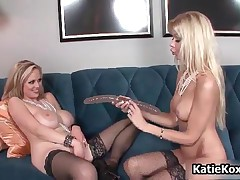 Katie Kox - Big Boobs Blond, Long Legs And Natural Boobs Babe, Two Shaved Pussy And A Huge Double Di