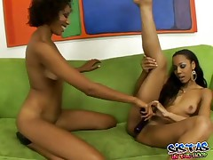 Krystal And Misty - Hot Ebony Dildo Fucking Action