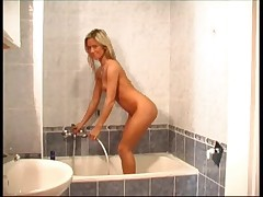 Carmen Cocks finger under the shower