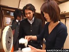 Curious Asian Students Having Fun Tasting Jizz