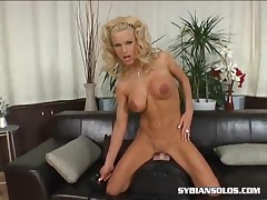 Victoria - Fake Titty Girl Rides The Sybian
