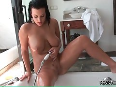 Hot Brunette Babe Taking A Shower And Playing With Her Nice Shaved Pussy By MyVivThomas