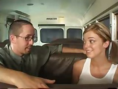 Hot blonde fucked and jizzed by dork
